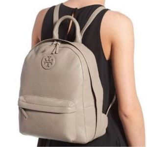 Tory Burch taupe leather backpack
